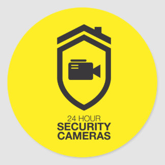 24 Hour Security Cameras Classic Round Sticker