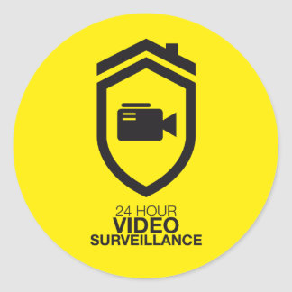 24 Hour video Surveillance Classic Round Sticker
