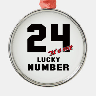24 It's my lucky number Silver-Colored Round Decoration