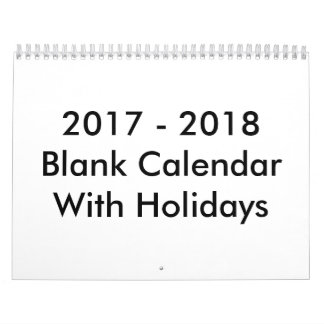 24 Months Blank Calendar 2017 - 2018 With Holidays