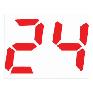24 twenty-four red alarm clock digital number postcard