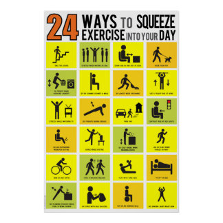 24 WAYS TO SQUEEZE EXERCISE INTO YOUR DAY POSTER