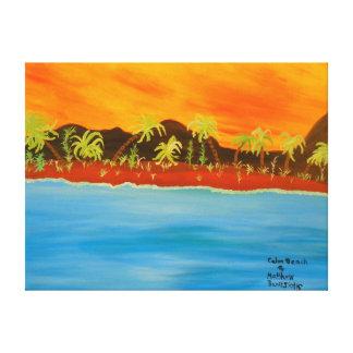 "24""x18"" Size Acrylic Painting Of ""Calm Beach"" Canvas Print"