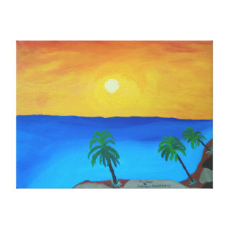 """24""""x18"""" Size Acrylic Painting Of """"Fire Coast"""" Canvas Print"""