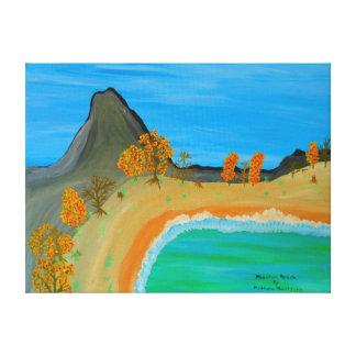 "24""x18"" Size Acrylic Painting Of ""Mountain Beach"" Canvas Print"