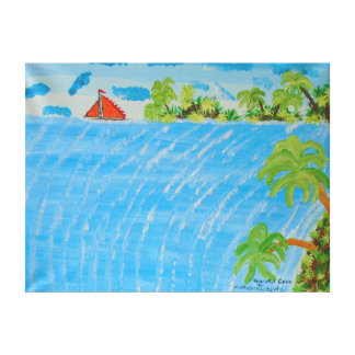 """24""""x18"""" Size Acrylic Painting Of """"Peaceful Cove"""" Canvas Print"""