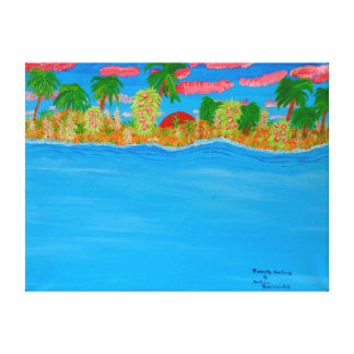 """24""""x18"""" Size Acrylic Painting Of """"Remote Nature"""" Canvas Print"""