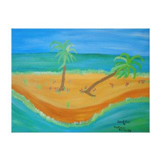 "24""x18"" Size Acrylic Painting Of ""Sand Bar"" Canvas Print"