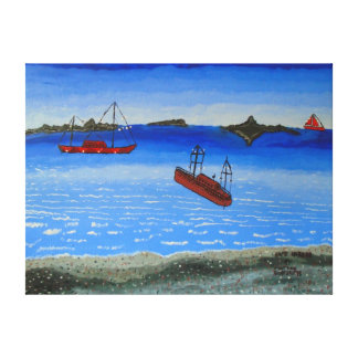 """24""""x18"""" Size Oil Painting Of """"Safe Harbor"""" Canvas Print"""