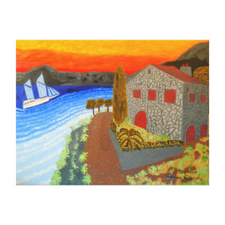 """24""""x18"""" Size Oil Painting Of """"Secluded Resort"""" Canvas Print"""