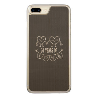 24th Anniversary Chalk Hearts Carved iPhone 8 Plus/7 Plus Case
