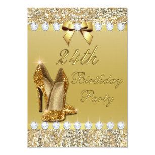 24th Birthday Classy Gold Heels Sequins Diamonds Invitation