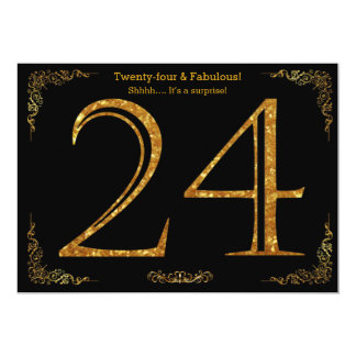 24th Birthday party,Gatsby styl,black gold glitter 13 Cm X 18 Cm Invitation Card
