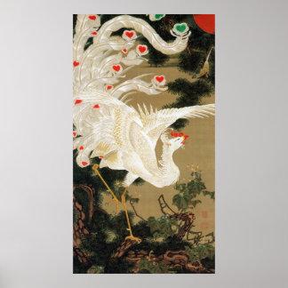 25. 老松白鳳図, 若冲 Pine-tree & Phoenix, Jakuchu Print