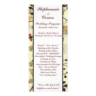 25 4x9 Wedding Program Fall Floral/Branches nature Personalized Rack Card