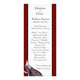 25 4x9 Wedding Program Peacock Red Black White Rack Card