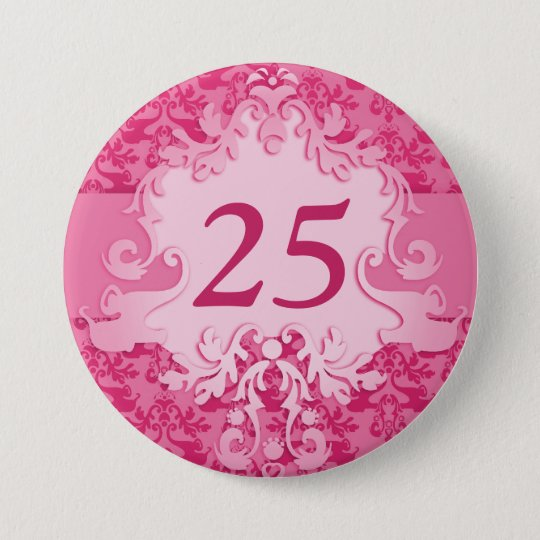"""25"" age damask elephant pink button/badge 7.5 cm round badge"