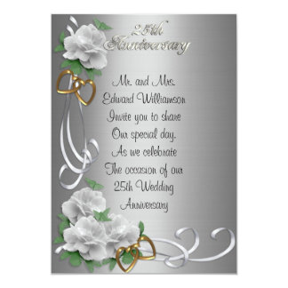 25 Anniversary invitation white roses silver satin