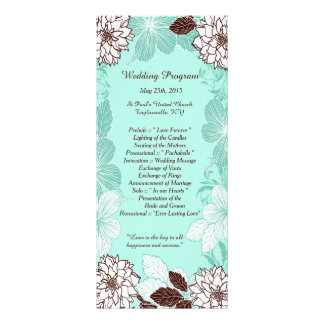 25 Aqua Brown Flower Wedding Programs Custom Rack Card