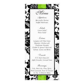 25 Black/Lime Green Floral Damask Wedding Menu