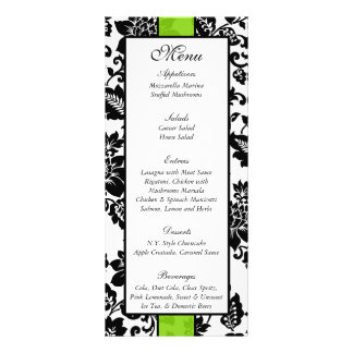 25 Black/Lime Green Floral Damask Wedding Menu Rack Card Template