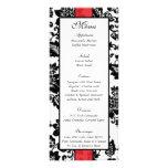 25 Black/Red Floral Damask Wedding Menu Full Color Rack Card