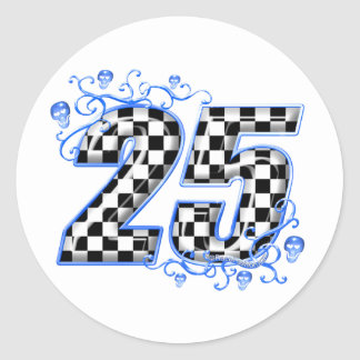 25 blue racing number classic round sticker