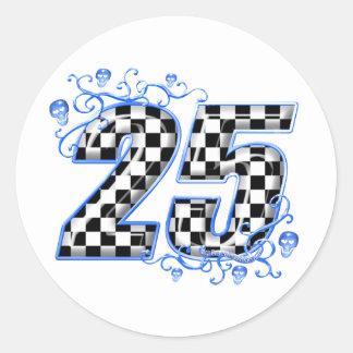 25 blue racing number sticker