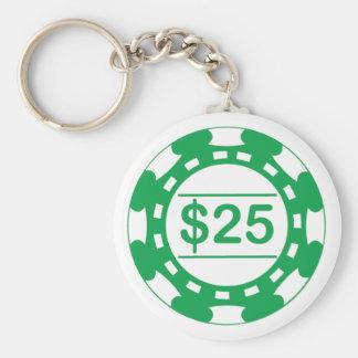 $25 Denomination Casino Chip Green Keychain