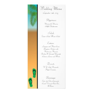 25 Menu Cards His Hers Sandals On Beach plam trees Rack Cards