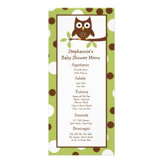 25 Menu Cards Woodland Friends Owl Personalised Rack Card