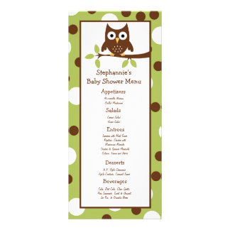 25 Menu Cards Woodland Friends Owl Rack Card Design