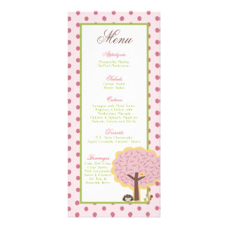 25 Menu Love and Nature Girl Woodland Owl Porcupin Full Color Rack Card