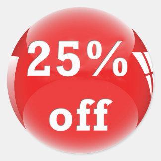 25% Off (Percent) Round Glossy Sticker