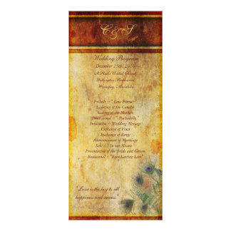 25 Peacock Feather Wedding Programs Personalised Rack Card