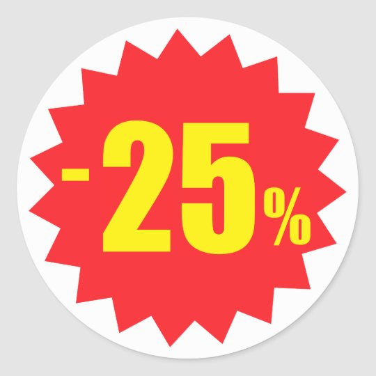 25 percent sale discount stickers, white and red