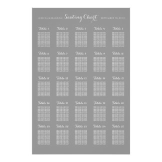 25 Table Large Wedding Seating Chart Poster