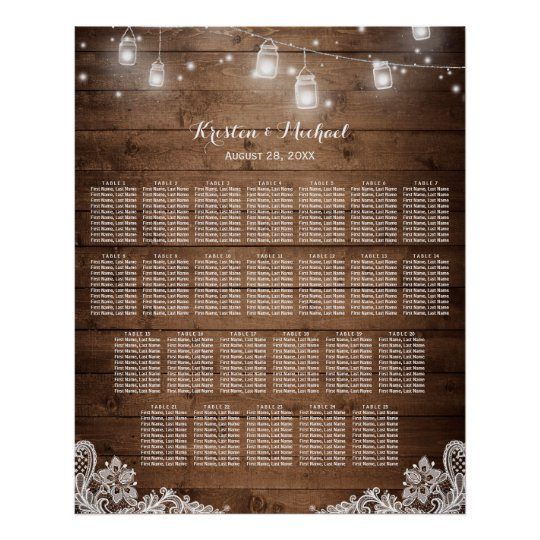 25 Tables Rustic String Lights Seating Chart Poster