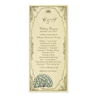 25 Vintage Peacock Wedding Programs Rack Card