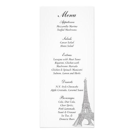 25 Wedding in Paris Menu Tags Customized Rack Card