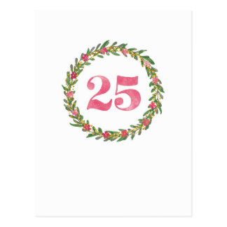 25 wreath in pink ones postcard