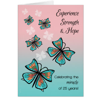 25 Years 12 Step Recovery Birthday Butterflies Card