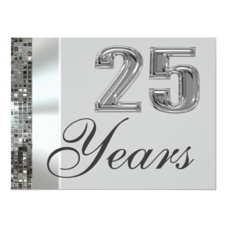 25 Years Silver Anniversary Elegant Invitation