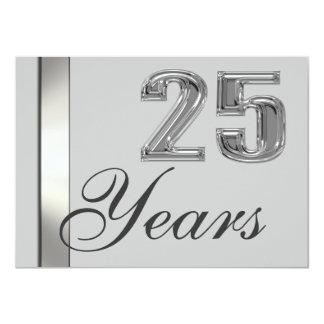 "25 Years Silver Anniversary Elegant Invitation 4.5"" X 6.25"" Invitation Card"