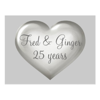 25 years silver glass and white heart anniversary postcard