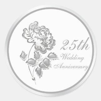 25 Years Silver Peony Anniversary Sticker