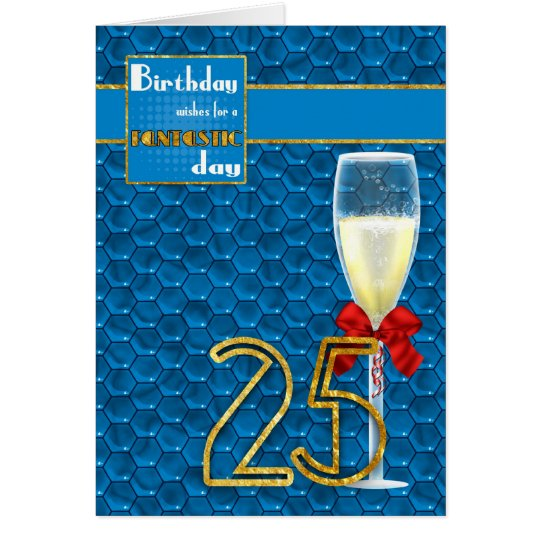 25st Birthday - Geometric Birthday Card Champagne