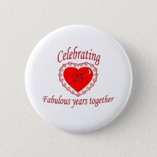 25th. Anniversary 6 Cm Round Badge