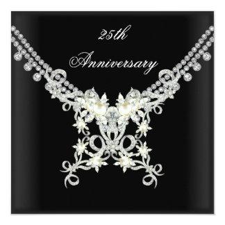 25th Anniversary Black White Silver Pearl Jewel 13 Cm X 13 Cm Square Invitation Card