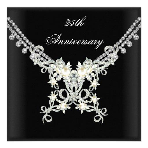 25th Anniversary Black White Silver Pearl Jewel Personalized Announcement